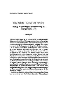 Fritz Blanke Lehrer und Forscher