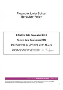 Frogmore Junior School Behaviour Policy