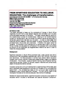 FROM APARTHEID EDUCATION TO INCLUSIVE EDUCATION: