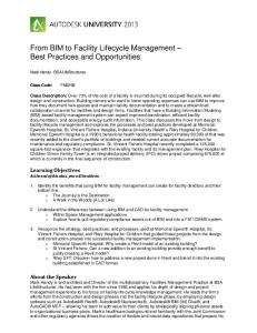 From BIM to Facility Lifecycle Management Best Practices and Opportunities