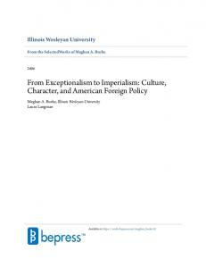From Exceptionalism to Imperialism: Culture, Character, and American Foreign Policy