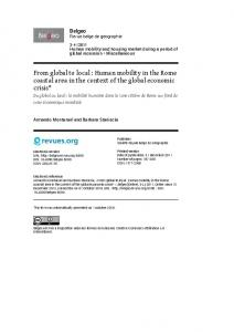 From global to local : Human mobility in the Rome coastal area in the context of the global economic crisis*
