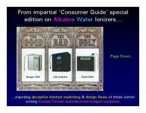 From impartial Consumer Guide special edition on Alkaline Water Ionizers