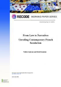 From Law to Narratives Unveiling Contemporary French Secularism