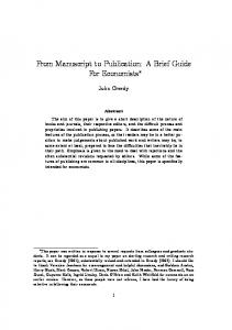 From Manuscript to Publication: A Brief Guide For Economists