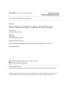From 'Means to Ends': Labour As Art Practice