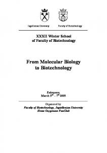 From Molecular Biology to Biotechnology