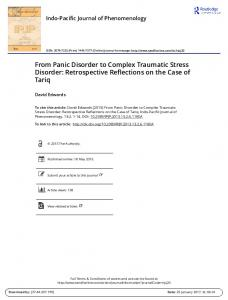 From Panic Disorder to Complex Traumatic Stress Disorder: Retrospective Reflections on the Case of Tariq
