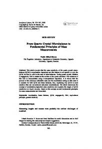 From Quartz Crystal Microbalance to Fundamental Principles of Mass Measurements