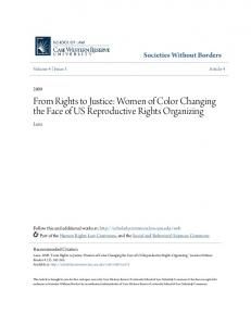 From Rights to Justice: Women of Color Changing the Face of US Reproductive Rights Organizing