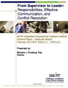From Supervisor to Leader: Responsibilities, Effective Communication, and Conflict Resolution