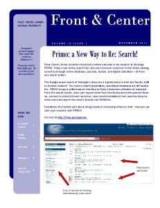 Front & Center. Primo: a New Way to Re: Search!