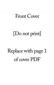 Front Cover. [Do not print] Replace with page 1 of cover PDF