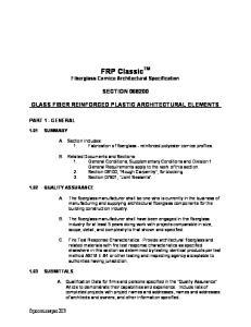 FRP Classic TM Fiberglass Cornice Architectural Specification