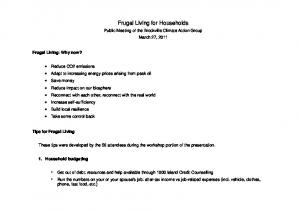 Frugal Living for Households
