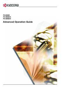 FS-2000D FS-3900DN FS-4000DN. Advanced Operation Guide