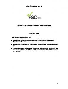 FSC Standard No. 9. Valuation of Scheme Assets and Liabilities. October 2006