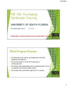 FST 108: Purchasing Cardholder Training