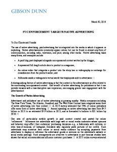 FTC ENFORCEMENT TARGETS NATIVE ADVERTISING