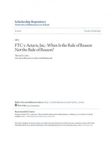FTC v. Actavis, Inc.: When Is the Rule of Reason Not the Rule of Reason?
