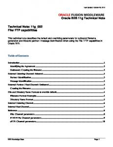 FTP capabilities. Table of Contents