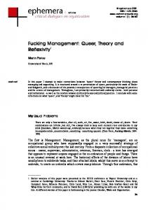 Fucking Management: Queer, Theory and Reflexivity 1