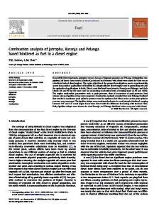 Fuel. Combustion analysis of Jatropha, Karanja and Polanga based biodiesel as fuel in a diesel engine. P.K. Sahoo, L.M