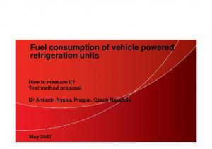 Fuel consumption of vehicle powered refrigeration units