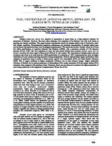 FUEL PROPERTIES OF JATROPHA METHYL ESTER AND ITS BLENDS WITH PETROLEUM DIESEL
