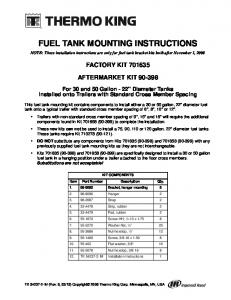 FUEL TANK MOUNTING INSTRUCTIONS