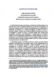 FUENTE DE CANTOS EN 1829