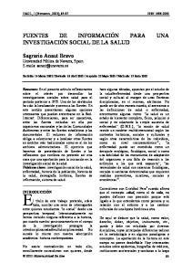 FUENTES DE INFORMACIÓN PARA UNA INVESTIGACIÓN SOCIAL DE LA SALUD