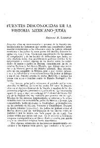 FUENTES DESCONOCIDAS DE LA HISTORIA MEXICANO-JUDIA