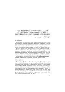 FUENTES PARA EL ESTUDIO DE LA SALUD, LA ENFERMEDAD Y LAS INSTITUCIONES SANITARIAS EN LA PROVINCIA DE BUENOS AIRES