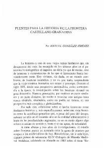 FUENTES PARA LA HISTORIA DE LA FRONTERA CASTELLANO-GRANADINA