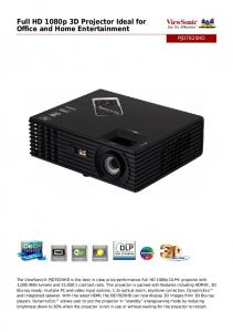 Full HD 1080p 3D Projector Ideal for Office and Home Entertainment