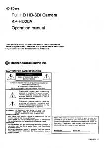 Full HD HD-SDI Camera KP-HD20A Operation manual