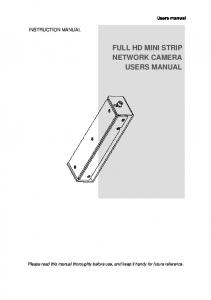 FULL HD MINI STRIP NETWORK CAMERA USERS MANUAL