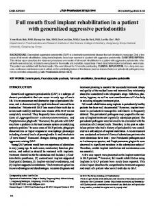 Full mouth fixed implant rehabilitation in a patient with generalized aggressive periodontitis