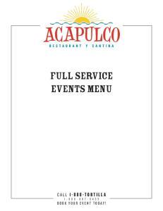 FULL SERVICE EVENTS MENU