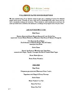 FULL SERVICE PLATED DINNER SELECTIONS