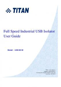 Full Speed Industrial USB Isolator User Guide