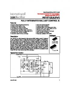FULLY INTEGRATED BALLAST CONTROL IC