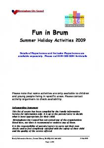 Fun in Brum. Summer Holiday Activities 2009