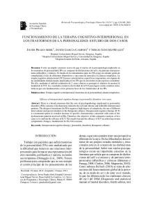 FUNCIONAMIENTO DE LA TERAPIA COGNITIVO-INTERPERSONAL EN LOS TRASTORNOS DE LA PERSONALIDAD: ESTUDIO DE DOS CASOS