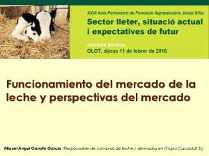 Funcionamiento del mercado de la leche y perspectivas del mercado