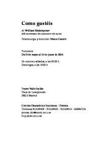 Funciones Del 8 de mayo al 15 de junio de 2014