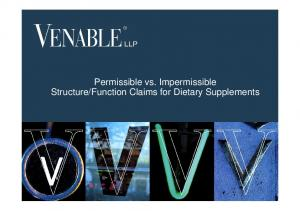 Function Claims for Dietary Supplements Venable LLP