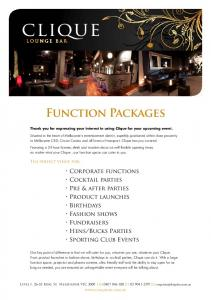 Function Packages. Thank you for expressing your interest in using Clique for your upcoming event