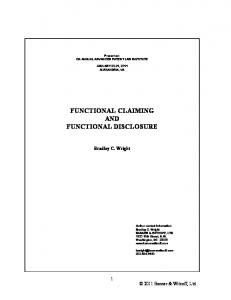 FUNCTIONAL CLAIMING AND FUNCTIONAL DISCLOSURE